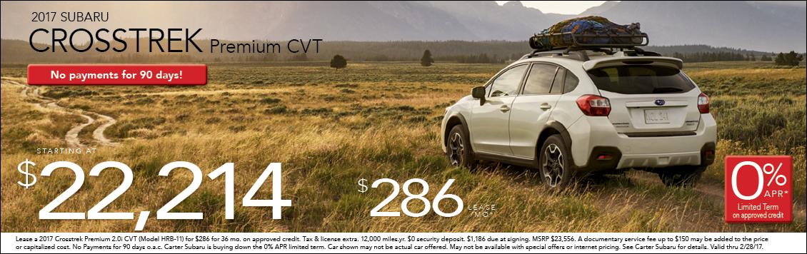 Save when you Purchase or Lease a New 2017 Subaru Crosstrek from Carter Subaru Ballard in Seattle