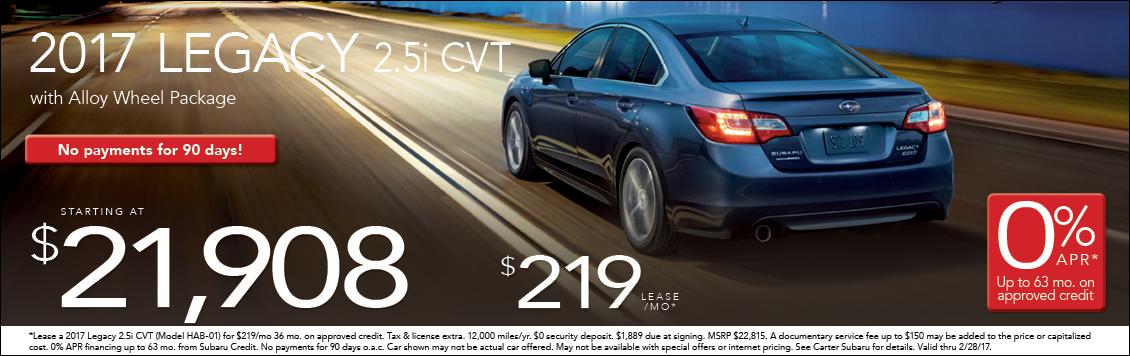 Carter Subaru Ballard's New 2017 Subaru Legacy Lease & Purchase Special Offers in Seattle
