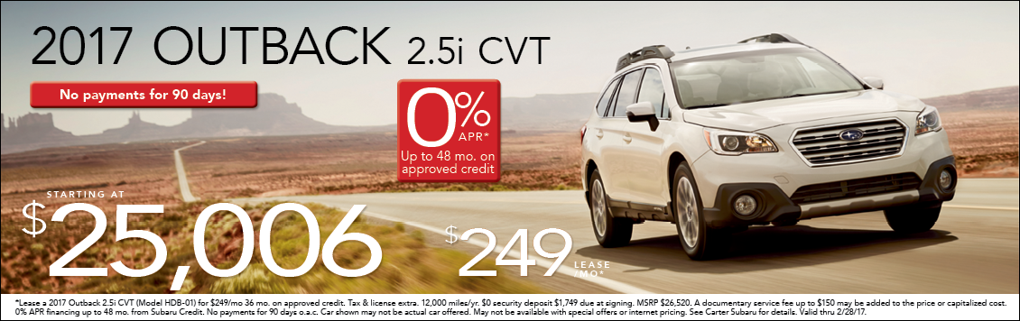 Save Big on a New 2017 Subaru Outback at Carter Subaru Ballard with Special Lease & Purchase Pricing in Seattle