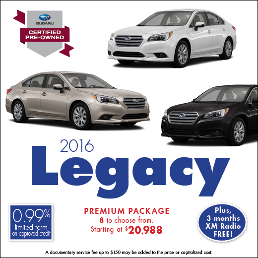 Click to view our complete inventory of certified pre-owned 2016 Subaru Legacy models at Carter Subaru Ballard in Seattle, WA