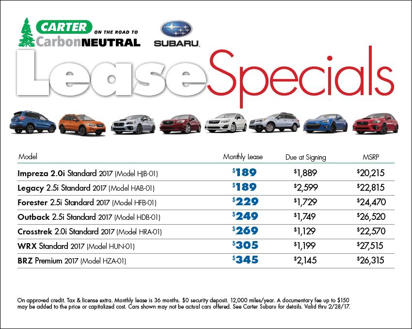 Available lease specials & discounts on select new Subaru model vehicles at Carter Subaru Ballard