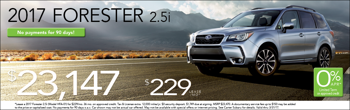 Save with Special Discounts & Lease Offers on the New 2017 Subaru  Forester at Carter Subaru Ballard serving Seattle