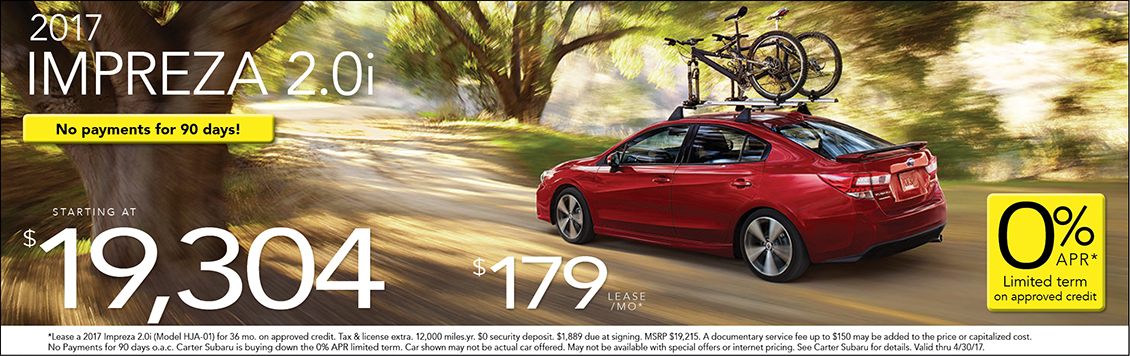 Lease or Purchase a New  2017 Subaru Impreza from Carter Subaru Ballard with Special Pricing in  Seattle