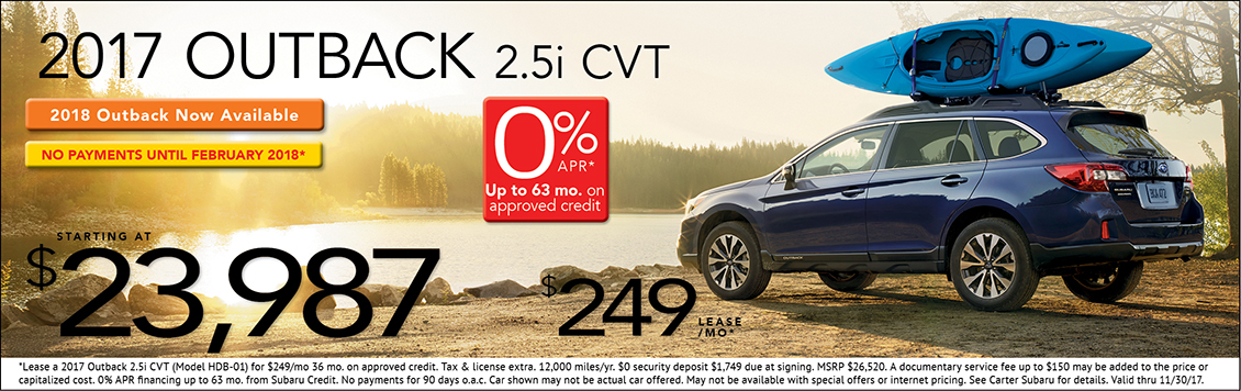 2017 Outback 2.5i CVT Sales or Lease Special at Carter Subaru Ballard in Seattle, WA