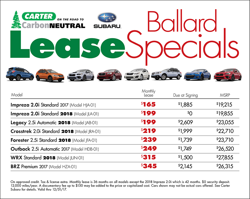 Lease a new vehicle for a low monthly payment at Carter Subaru Ballard in Seattle, WA
