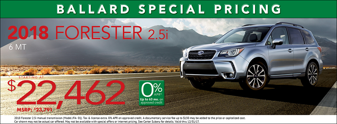 2018 Forester 2.5i 6-Speed Manual  Sales Specials at Carter Subaru Ballard in Seattle, WA