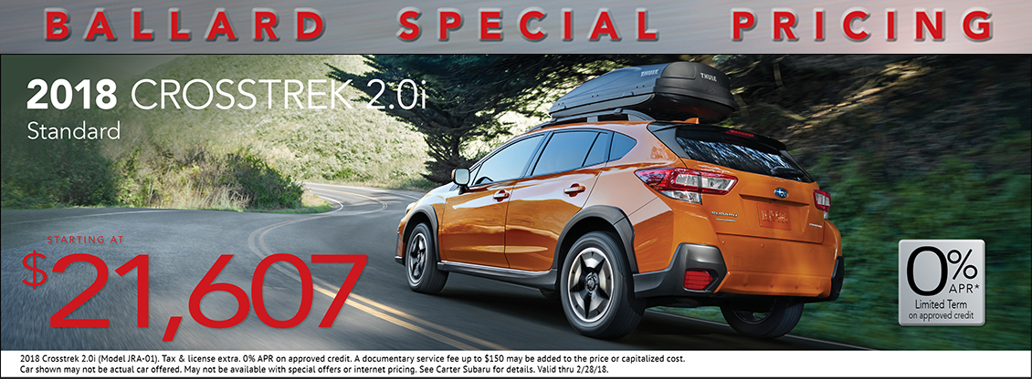 2018 Crosstrek 2.0i Standard low payment lease special at Carter Subaru Ballard in Seattle, WA