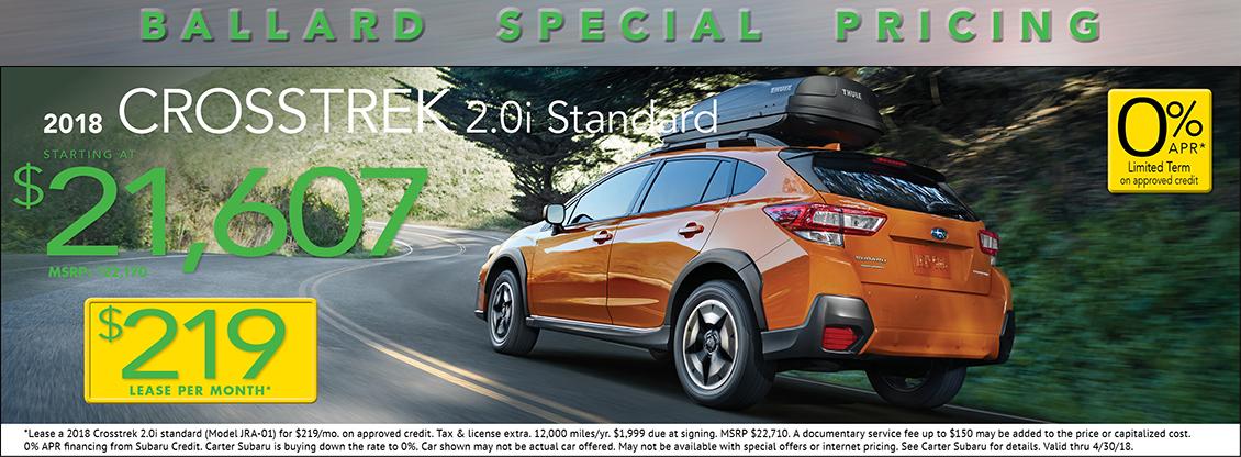 2018 Crosstrek 2.0i Standard low payment lease special at Carter Subaru Ballard in Seattle, WA