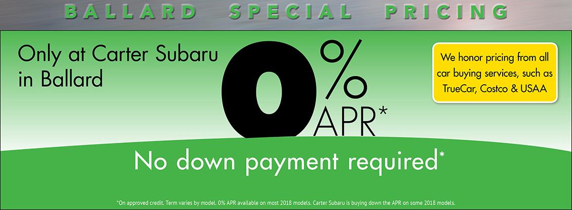 0% APR No Down Payment Required - Save Today at Carter Subaru Ballard