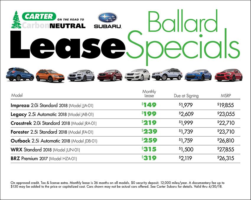 Carter Subaru Ballard Lease Specials in Seattle, WA