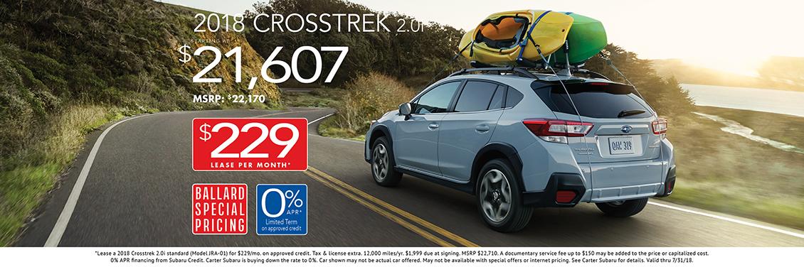 2018 Crosstrek 2.0i low APR or lease special at Carter Subaru Ballard in Seattle, WA