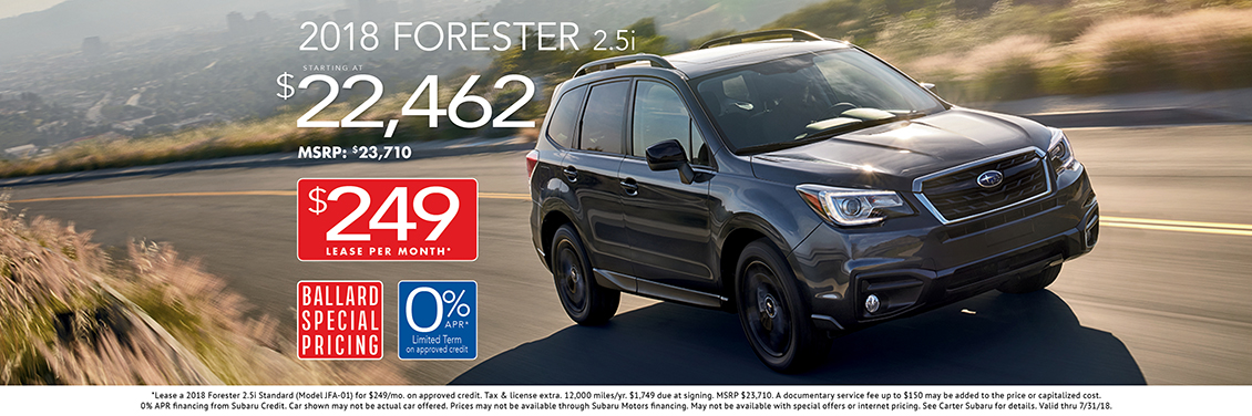2018 Subaru Forester 2.5i sales or lease special in Seattle, WA