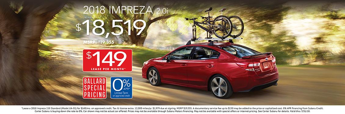 2018 Impreza 2.0i sales or lease special at Carter Subaru Ballard in Seattle, WA