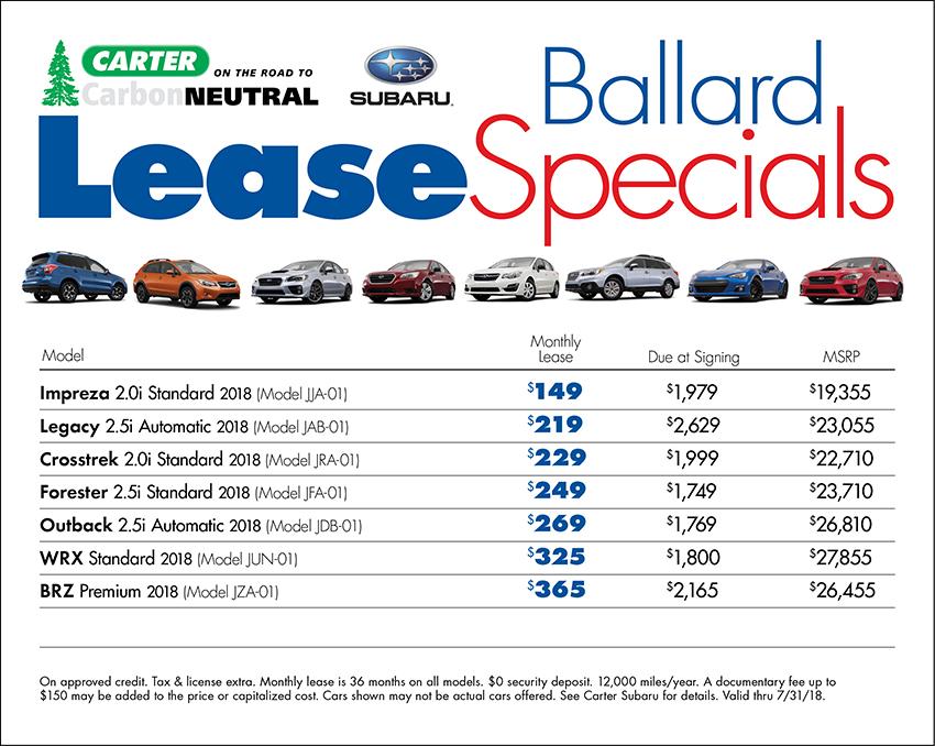 Get great deals when you lease at Carter Subaru Ballard in Seattle, WA