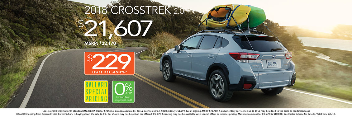 New 2018 Subaru Crosstrek 2.0i purchase and lease special savings offer at Carter Subaru Ballard in Seattle, WA
