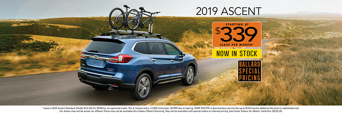 New 3-Row 2019 Subaru Ascent Low Payment Lease Special at Carter Subaru Ballard in Seattle