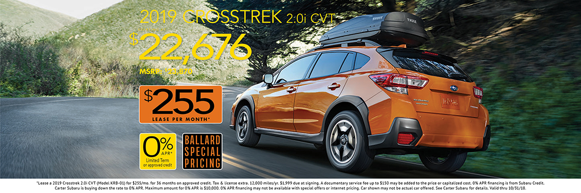 Purchase or Lease a New 2019 Crosstrek 2.0i with Special Discounted Pricing from Carter Subaru Ballard in Seattle