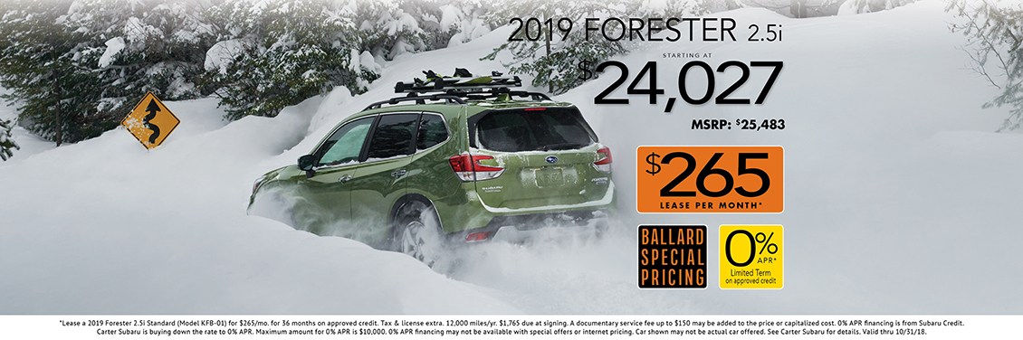 New 2018 Subaru Forester 2.5i Purchase & Lease Specials at Carter Subaru Ballard in Seattle
