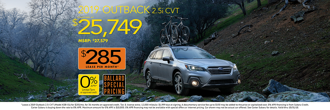 New 2019 Outback 2.5i CVT Purchase Special at Carter Subaru Ballard in Seattle
