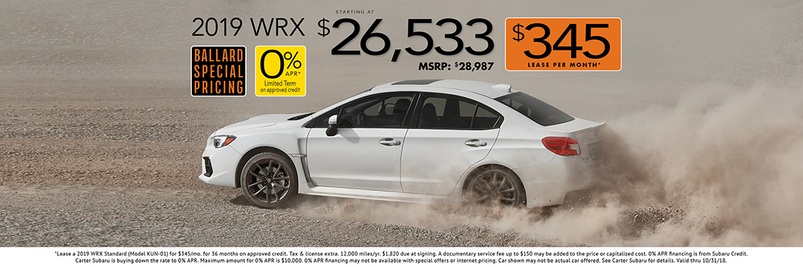 New 2019 WRX Specials in Seattle - Lease or Purchase at Carter Subaru Ballard Today