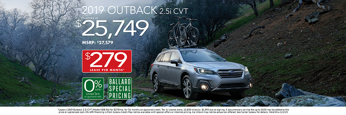 New 2019 Outback 2.5i CVT Purchase or Lease Special at Carter Subaru Ballard in Seattle, WA