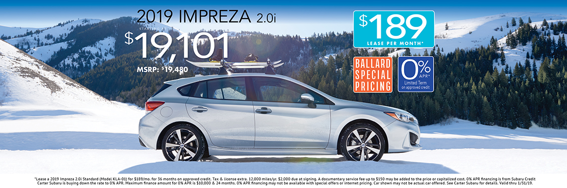 2019 Impreza 2.0i Sales or Lease Special at Carter Subaru Ballard in Seattle, WA