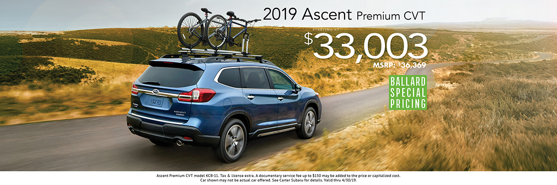 2019 Ascent Premium CVT Purchase Special at Carter Subaru Ballard in Seattle, WA