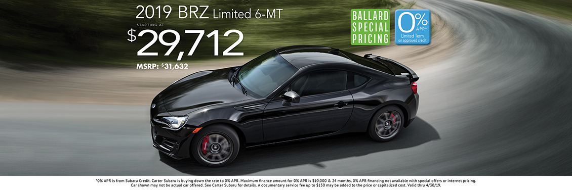 2019 BRZ Limited 6-MT Sales Special at Carter Subaru Ballard in Seattle, WA