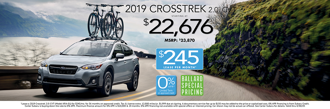 2019 Crosstrek 2.0i CVT Sales or Lease Special at Carter Subaru Ballard in Seattle, WA