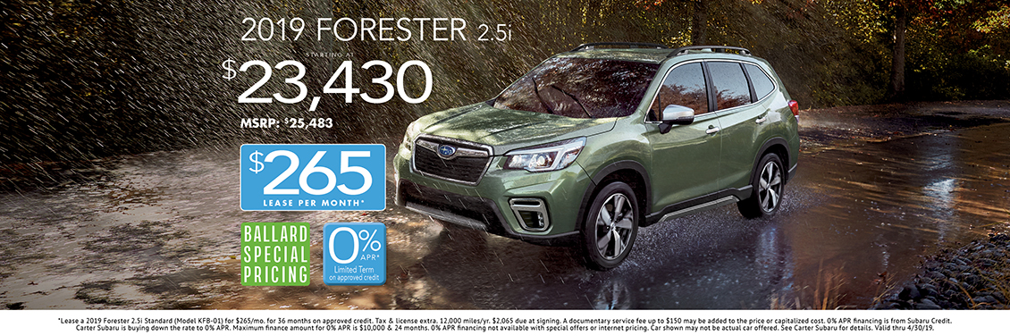 2019 Forester 2.5i Sales or Lease Special at Carter Subaru Ballard in Seattle, WA