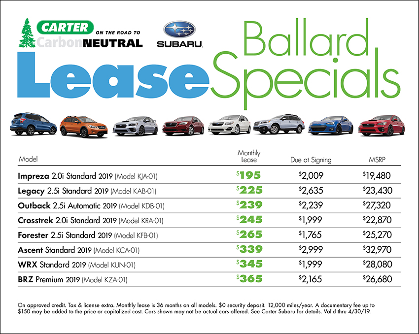 Get a low monthly lease payment at Carter Subaru Ballard in Seattle, WA
