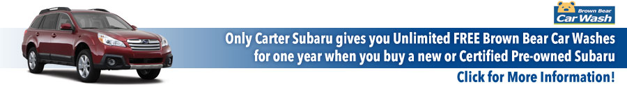 Carter Subaru Shoreline Free Year of Brown Bear Car Washes with Purchase of New or Certified Pre-Owned Subaru Vehicle!