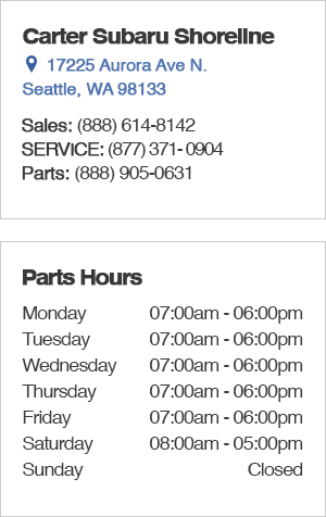 Carter Subaru Shoreline Seattle Parts Hours