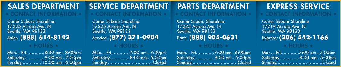 Carter Subaru Shoreline All Department Hours & Location