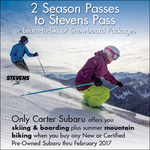 Buy a new or certified pre-owned Subaru through February 2017 and receive free skiing & snowboarding plus summer mountain biking from Carter Subaru Shoreline!