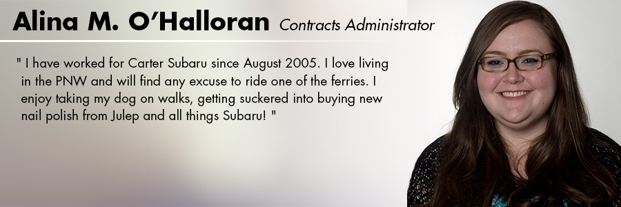 Alina O'Halloran, Contracts Administrator at Carter Subaru Shoreline in Seattle, WA