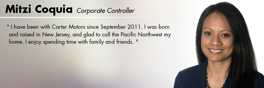 Mitzi Coquia, Corporate Controller at Carter Subaru Shoreline in Seattle, WA