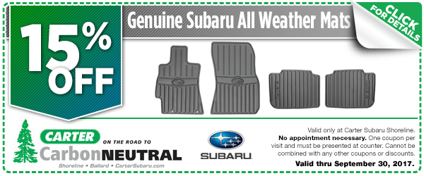 Click to see how much you can save with this Seattle, WA Subaru all-weather floor mats parts department coupon