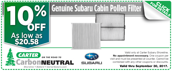 Click to see how much you can save with this Seattle, WA Subaru cabin pollen filter parts department coupon