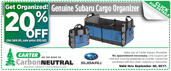 Click to see how much you can save with this Seattle, WA Subaru cargo organizer parts department coupon