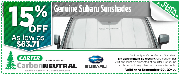 Click to see how much you can save with this Seattle, WA Subaru sunshades parts department coupon