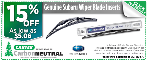 Click to see how much you can save with this Seattle, WA Subaru windshield wiper inserts parts department coupon