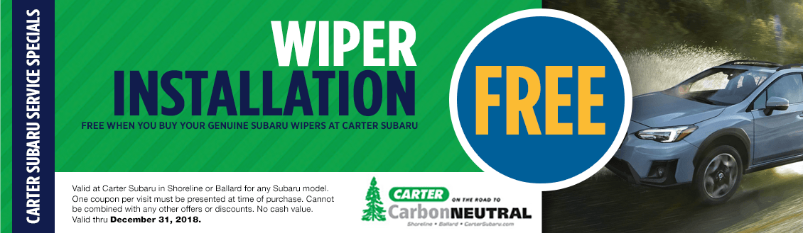 Save on your Next Subaru Windshield Wiper Replacement Service at Carter Subaru Shoreline with this Coupon
