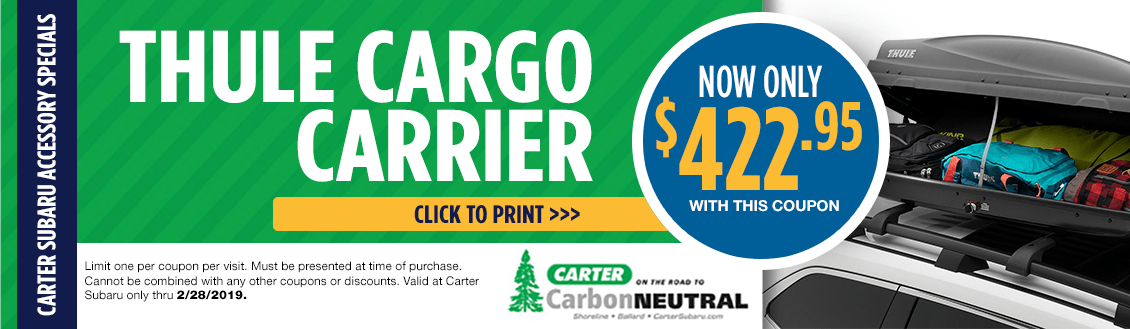 Save on Thule Cargo Carriers at Carter Subaru Shoreline in Seattle, WA