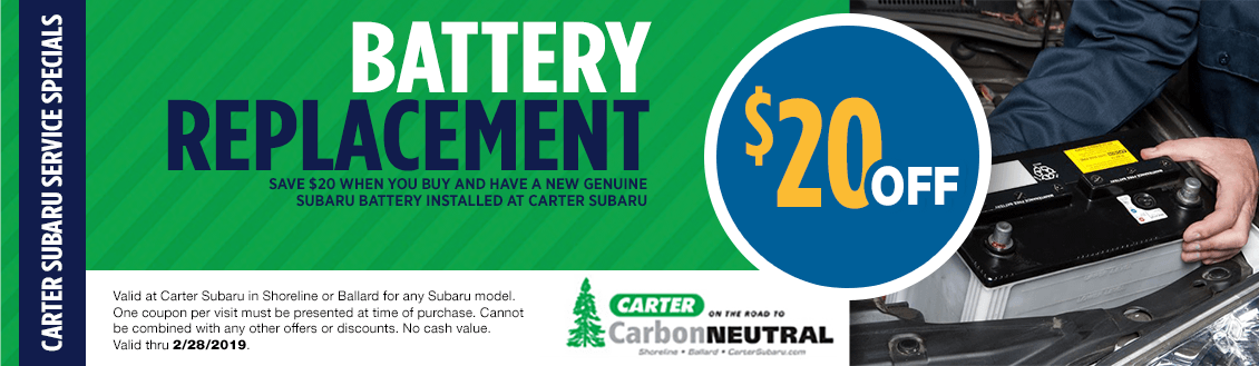 Save on your Next Genuine Subaru Battery Replacement Service at Carter Subaru Shoreline with this Coupon