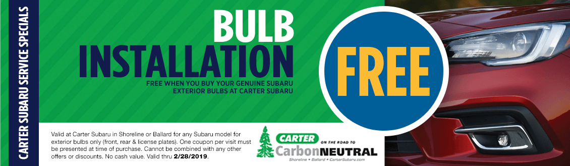 Save on your Next Subaru Headlight Bulb Replacement Service at Carter Subaru Shoreline with this Coupon