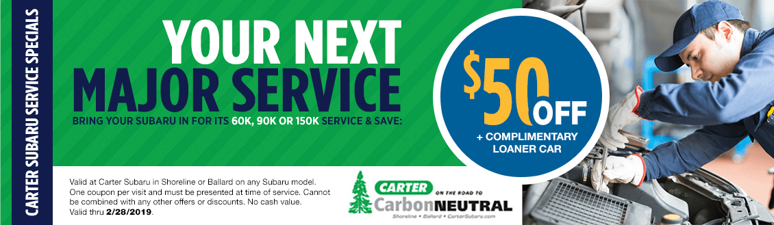 Save on your Next Check Engine Light Service at Carter Subaru Shoreline with this Coupon