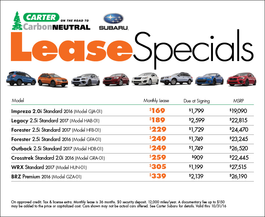 Save with new Subaru lease special offers from Carter Subaru Shoreline in Seattle, WA