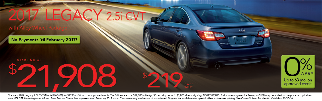 Save with new Subaru Legacy special offers from Carter Subaru Shoreline in Seattle, WA
