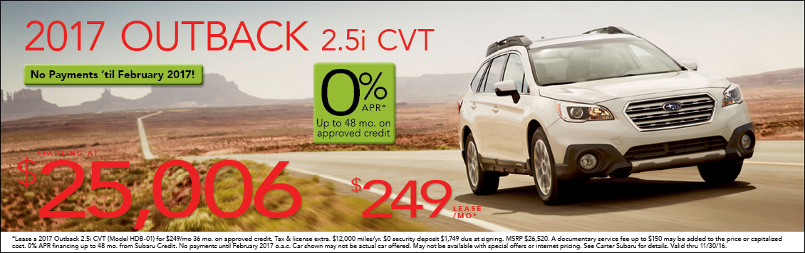 Save with new Subaru Outback special offers from Carter Subaru Shoreline in Seattle, WA